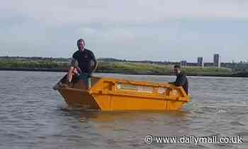 Marine engineers transform builder's skip into a wacky motorboat and take it out for a spin