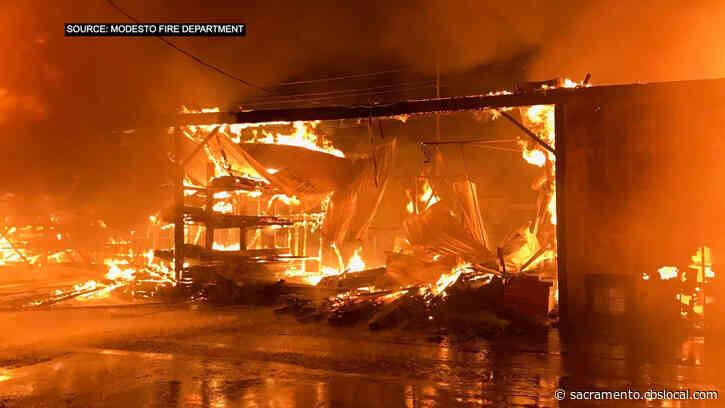 Raging Fire Tears Through 100-Year-Old Modesto Lumber Yard