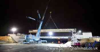 Key M6 junction at Walsall to shut as giant bridge beams lifted into place - Birmingham Live