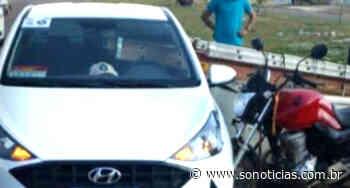 Moto bate e escada 'entra' em carro em Sinop: 2 feridos - Só Notícias