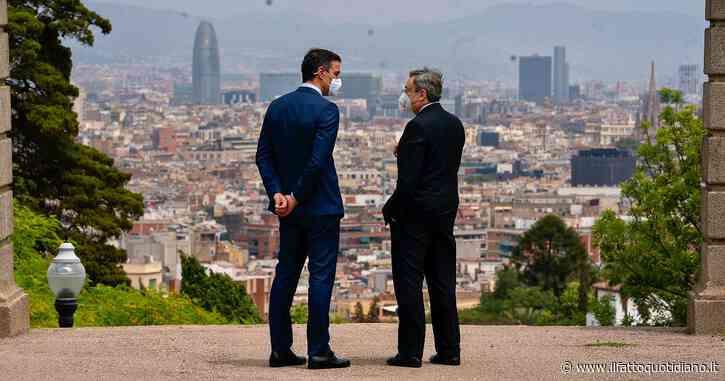 """Incontro Draghi-Sanchez a Barcellona: """"Dall'Ue servono solidarietà e responsabilità condivisa sui migranti"""""""