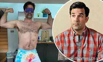 Catastrophe's Rob Delaney hilariously poses in nothing but tie-dyed boxers and an eye mask