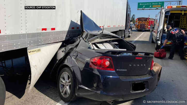 Sedan Crashes Under Big Rig On I-5 In Stockton, No Injuries Reported
