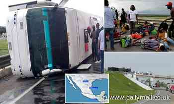 At least 33 migrants injured after bus overturned on a highway in Mexico