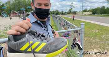 Riverview East School hangs 215 pairs of shoes to honour residential school students