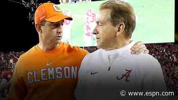 Sportsbook installs Alabama, Clemson with highest college football win totals at 11.5 - ESPN