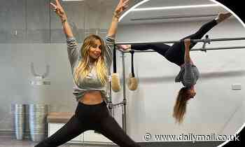 Louise Redknapp flaunts her taut midriff and shows off her impressive flexibility atPilates