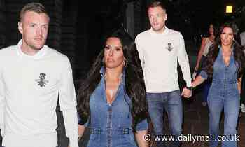 Rebekah Vardy puts on a busty display as she steps out in a denim jumpsuit for date night with Jamie