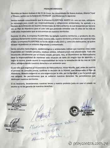 COMUNIDADES PETROLERAS RECHAZAN Y DENUNCIAN PROYECTO DE CARRETERA IQUITOS-SARAMIRIZA - Pro y Contra