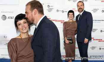 Lily Allen gets a sweet kiss from husband David Harbour at No Sudden Move premiere in NYC