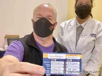 COVID-19: Premier John Horgan gets second AstraZeneca vaccine as B.C. reports 109 new cases