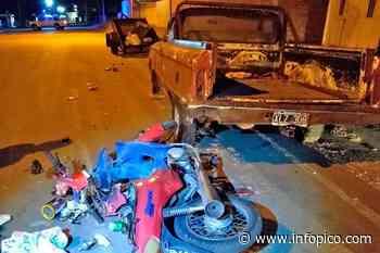 General Pico: Un motociclista chocó contra una camioneta estacionada y fue trasladado al hospital local co... - InfoPico.com