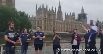 Cheeky Scotland football fans form 'Tartan Navy' on Thames boat trip outside Westminster - Daily Record
