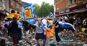 Fans clear litter as crowds smash bottles and set off flares with 30 arrested