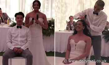 Heartwarming moment Australian bride shaves her head on her wedding day for mother fighting cancer