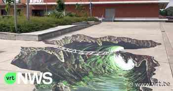 """Optische vloerschildering siert Nelson Mandelaplein in Kortrijk: """"Maakt deel uit van streetartproject"""" - VRT NWS"""