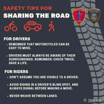 Concord Police and Fire Departments Offer Pedestrian, Bicycle and Motorcycle Safety Tips - John Guilfoil Public Relations