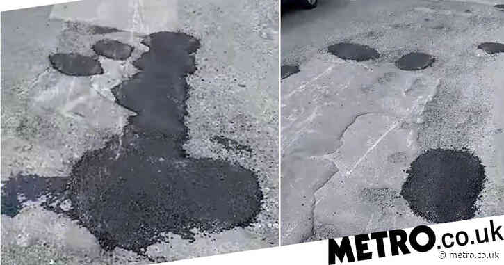 Botched pothole repair 'that looks like giant penis' mocked by locals