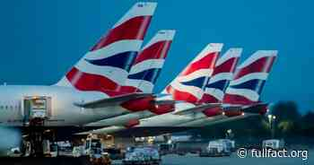 British Airways is not in 'crisis talks' with the government about vaccinated pilots - Full Fact