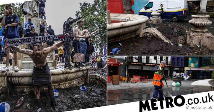 Clean up begins as football fans leave London after trashing Leicester Square