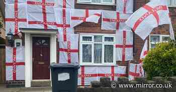 Dad threatened after covering house with 23 England flags during Euro 2020