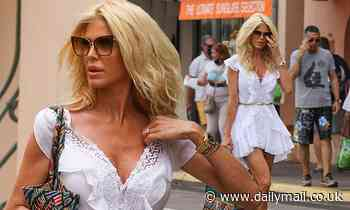 Victoria Silvstedt, 46, puts on a VERY leggy display as she goes shopping in Saint Tropez