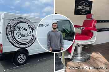 Barbers On Board offering haircuts in Brighton in unique barbershop van