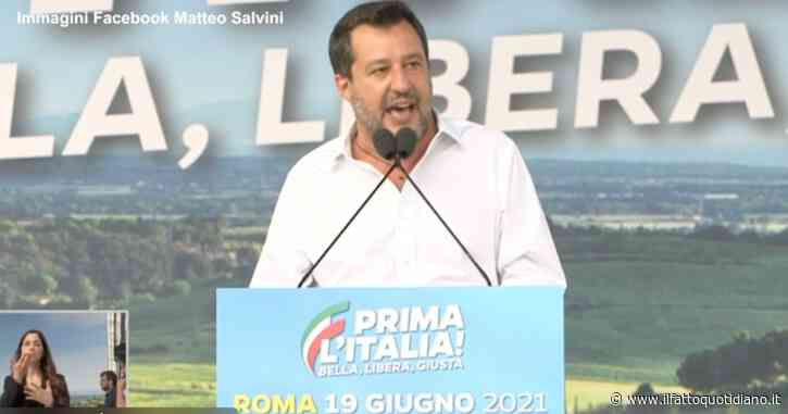 """Manifestazione della Lega, Salvini presenta il tandem Michetti-Matone: """"Nelle loro mani il futuro della città. Basta malgoverno a Roma"""""""