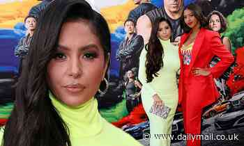 Vanessa Bryant and her daughter Natalia  wear vibrant dresses at the F9 premiere in Los Angeles