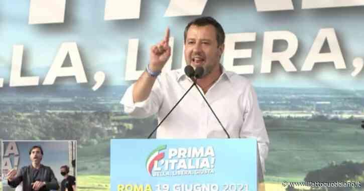 """Manifestazione Lega a Roma, Salvini al centro destra: """"No egoismi, mettiamoci insieme. Sono sicuro che riuscirò nella federazione"""""""
