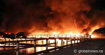 Crews tackle 2-alarm fire on decommissioned Surrey pier