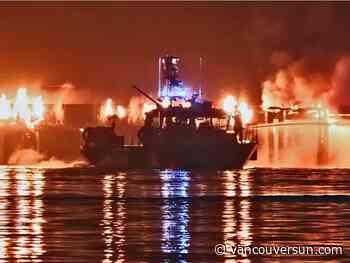 Large fire erupts on the Fraser River dock