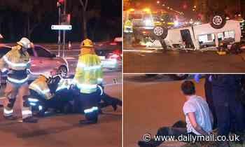 Drunk driver flips his ute and tries to hitch a ride before allegedly assaulting police in Adelaide