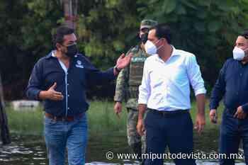 José Alfredo Salazar Rojo recibe a Mauricio Vila para recorrer las calles afectadas de Progreso por lluvias - www.mipuntodevista.com.mx