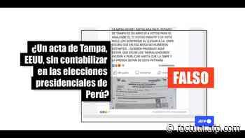 Los votos de la mesa de Tampa, EEUU, sí se contabilizaron en las elecciones peruanas - AFP Factual