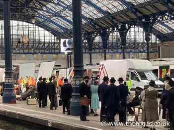 Film crew fills platform shooting scenes  at Brighton railway station