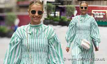 Vogue Williams is chic in an oversized green striped dress as she heads home from Heart FM