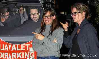 Jennifer Garner cuts a casual figure in a grey polo knit as she heads out for dinner in Santa Monica - Daily Mail