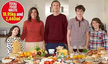 Family of five keep a diary of their food waste - with the result laid bare in this picture - Daily Mail