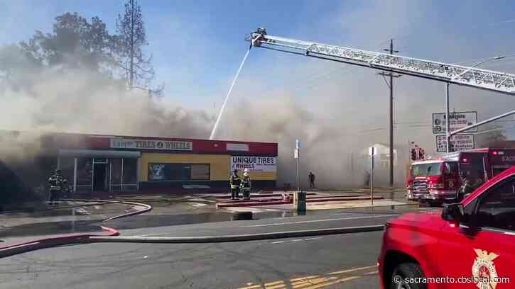 Pastor Rushes To Protect Church As Fire Tears Through Nearby North Sacramento Tire Shop