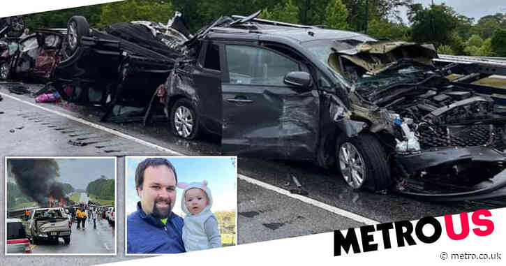 Nine children among 10 dead after 17-vehicle crash that caused fireball