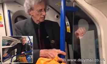 Anti-lockdown protestor Piers Corbyn, 74, is filmed peeling social distancing stickers off the Tube