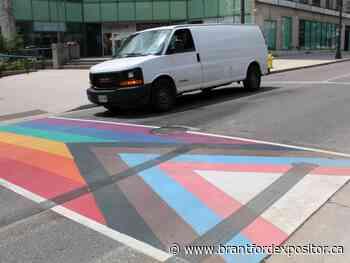 Rainbow crosswalk damaged by suspected vandalism - Brantford Expositor