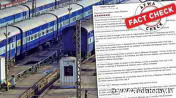 Fact Check: Old social media post on new train rules takes netizens for a ride again - India Today