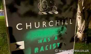 'Churchill was a racist!' Cambridge Uni sign vandalised as activist hit out at Britain - Express
