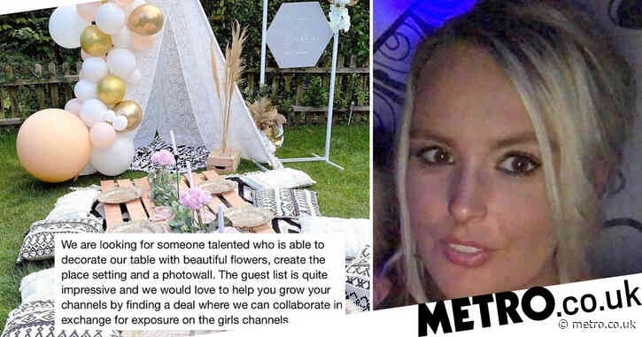 Decorator puts down 'influencers' after being asked for 'exposure' freebie