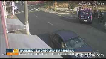 Homem rouba mercado em Pedreira e acaba preso na fuga após moto não funcionar; vídeo - G1