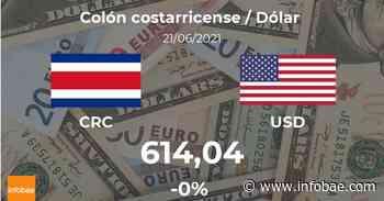 Dólar hoy en Costa Rica: cotización del colón costarricense al dólar estadounidense del 21 de junio. USD CRC - infobae