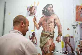 Semi-naked mural of Roman god Neptune showcased in Brighton