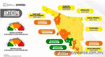 SLRC, Caborca, Hermosillo, Cajeme, Huatabampo y Navojoa suben riesgo, Guaymas, Empalme, Agua Prieta y Cananea lograron disminuir contagios: Mapa Anticipa Sonora - Proyecto Puente